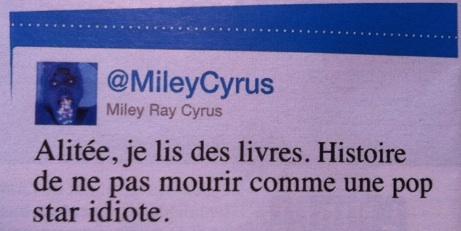 Tweet de Miley Cyrus dans Voici